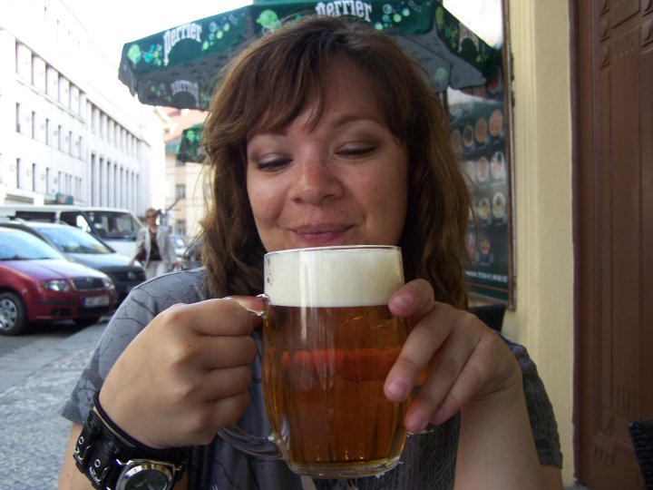 Diana drinking in Prague