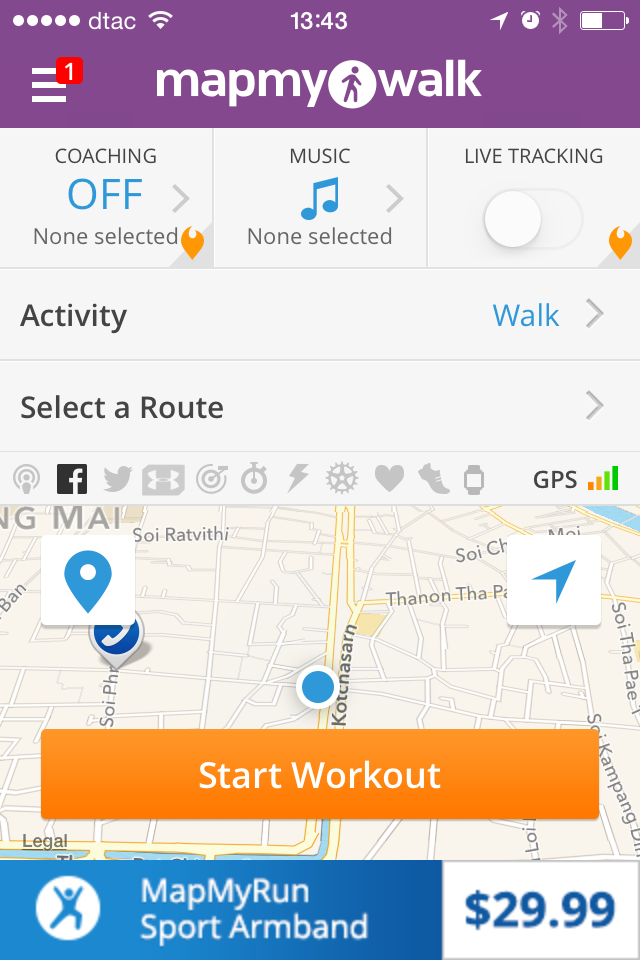 Map My Walk app