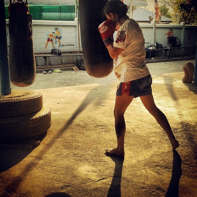 Sylvie practicing Muay Thai