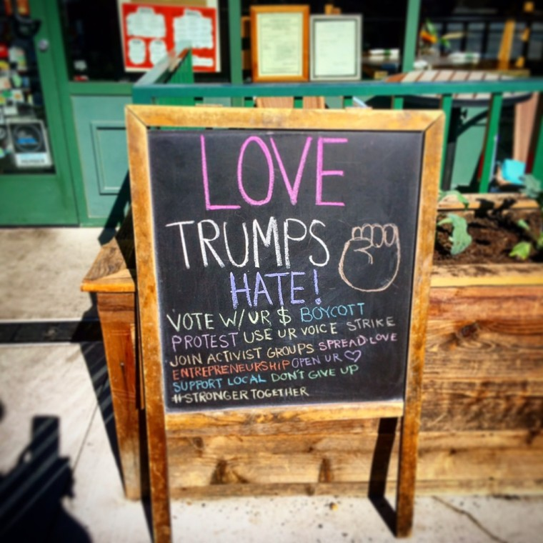 #lovetrumpshate at Downtown Las Vegas' VegeNation. www.thecomfortzoneproject.com